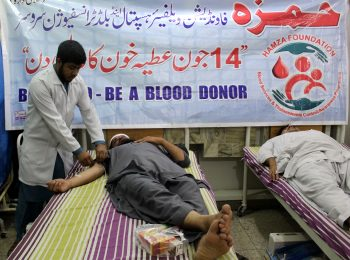 Blood volunteers are donating blood at HF on World Blood Donor Day