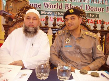 Chairman HF with Mr. Tahir Khan DIG Pakistan Motorway Police on World Donor Day